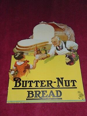 Circa 1930 Butter-Nut Bread Store Display Cardboard Advertisement Sign