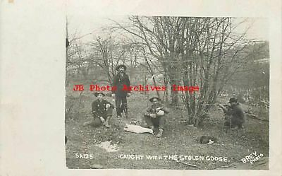 Hunting, Men Drinking, RPPC, Caught with Stolen Goose, Gun, Brey Photo No 5A125