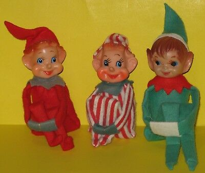 Lot of 3 Vintage Knee Hugger Elves Holiday Decoration Elf Ornaments Christmas