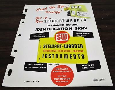 Vintage 1951 Stewart Warner Identification Sign Dealer Brochure O