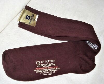 Vtg Ban Lon Mens Burgundy 100% Nylon Socks Sz 10-13 Sta-Up Support Mid-Calf NWT