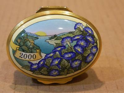 """Halcyon Days Oval Trinket Box  """"A Year to Remember"""" Violets Flowers 2000"""