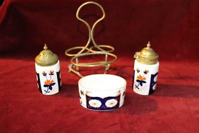 Wonderful Antique Gaudy Welsh Condiment Set W/Display Rack