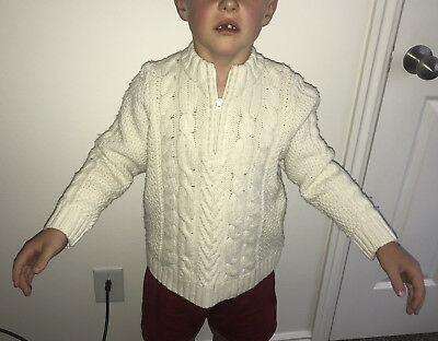 Hanna Andersson boys cream cable knit pullover zip-up sweater 120