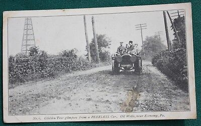 1908 Peerless Motor Car Co. Glidden Tour, Economy PA Postcard, Beaver County