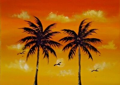 ACEO Original Birds Sunset Orlando Florida Palmtrees Miniature Painting HYMES