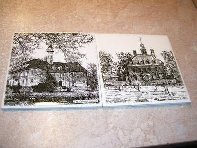 Pair of Antique Capitol and Governor Mansion England Building Tiles