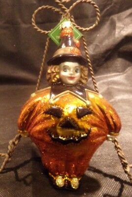 Collectible Halloween Slavic Treasures Glass Ornament  Girl Dressed as Clown