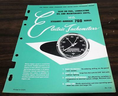 Vintage 1956 Stewart Warner Electric Tachometers 760 Series Dealer Catalog O