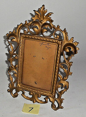 """Antique Victorian Style Ornate Cast Iron GOLD Tone 11 3/4"""" T Picture Frame 7"""