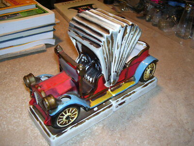 Pair of Vintage Antique Brass Era Car Ceramic Bookends Book Ends