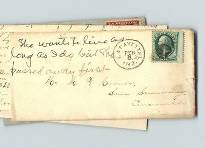 Early Lafayette, Indiana envelope with letter enclosed, sent to Cincinnati, OH