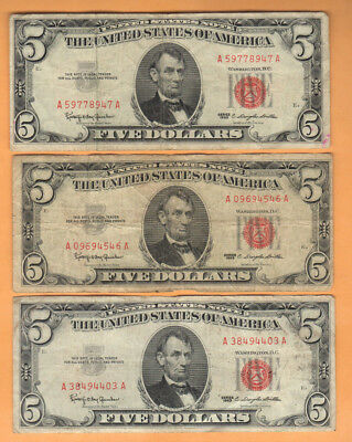 1963 $5 Bill - Red Seal Notes - Lot of 3 - Circulated - FREE SHIPPING