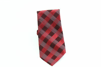 Calvin Klein NEW Red Traditional Woven Plaid Men's Neck Tie Accessory $65 #109