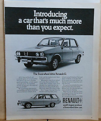 1971 magazine ad for Renault 12 - Front Wheel Drive, 30 mpg, more than expected