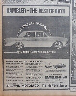 1963 newspaper ad for Rambler - Best of Both -Trim and Big, Extra Value Features