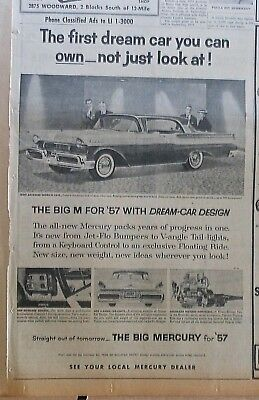 1956 newspaper ad for Mercury - First Dream Car you can own, 1957 model