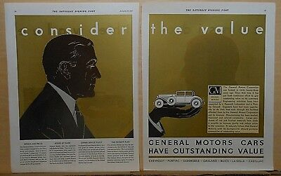 1931 two page magazine ad for General Motors - Consider the Value, gold toned