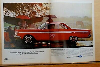 1964 double page magazine ad for Mercury - Comet wins Nat. Sports Club Car Rally