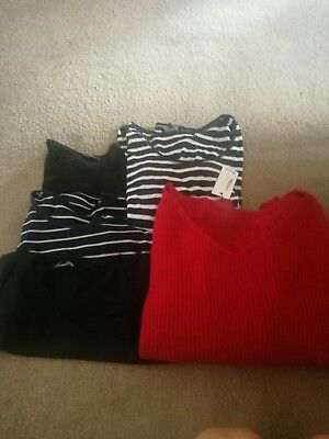 Maternity Top Bundle, Jumper, New Look, H&M, Red, Black, Striped, size 12