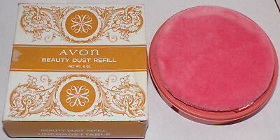Vtg Avon Beauty Dust Refill 6oz Unforgettable with Puff - In box Unused