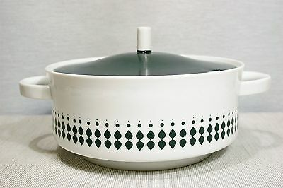 Melitta Covered Casserole or Soup Tureen, Lilo Kanter design Green Leaves, dots