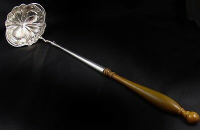 Beautiful Antique White Metal Wooden Handled Punch Ladle