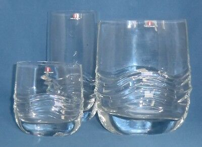 Set of 3 Fab Iittala Designer Glass Vases with label
