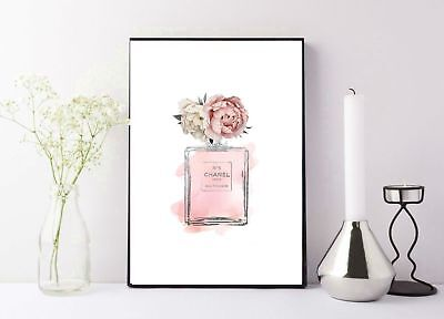 coco chanel perfume bottle pink floral designed print/poster