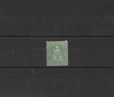 SWITZERLAND , 1862, SG64 TYPE 7 25c GREEN, MH...