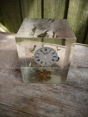 Lucite Watch/clock Parts Paperweight