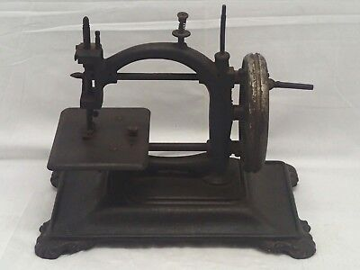 Antique Early Cast Iron Sewing Machine German Trademark  Hand Cranked