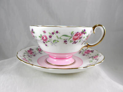 Fabulous Crown Staffordshire Pink Floral Bone China Tea Cup and Saucer Gold Trim