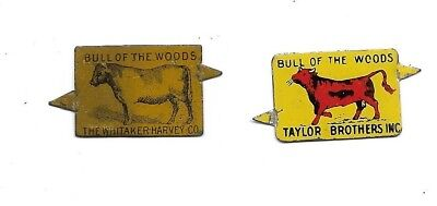 Vintage Bull of the Woods Tobacco Tags....Taylor Bros & Whitaker Harvey Co.