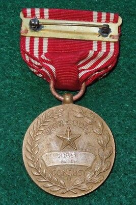 WWII US Army AAF NAMED Good Conduct Medal Slot Broach