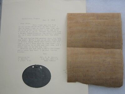 RARE WWI US Army Airplane Canvas & German Dog Tag Bringback Grouping NAMED