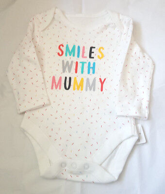 "Baby Unisex  "" Smiles with Mummy"" Long Sleeve  Bodysuit 3 6 9  Mths Bnwt"