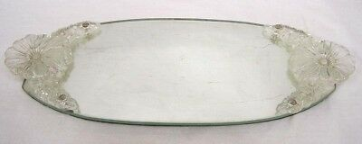 Vintage Mirror Glass Dresser Tray with Glass Floral Handles 1940s