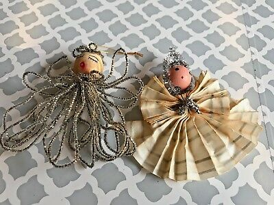 2 Vintage Christmas Angel Ornaments Beaded Wire + Accordian Wood Heads
