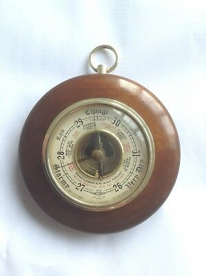 Vintage SB 'Solid Wood Surround' Small Circular Barometer - in good condition