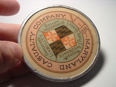 Antique paperweight 1898 advertising Maryland casualty Plate Glass & Boiler Insu
