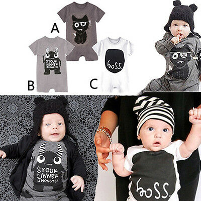 New Europe Baby Boys Short Sleeve Cartoon Romper Bodysuit Babygrows Tops 0-18 M