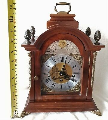Westminster Mantel Clock Shelf Hermle Nut Wood 8 day Silent Vintage 36cms High