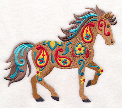 Embroidered Ladies Short-Sleeved T-Shirt - Flower Power Horse M9149