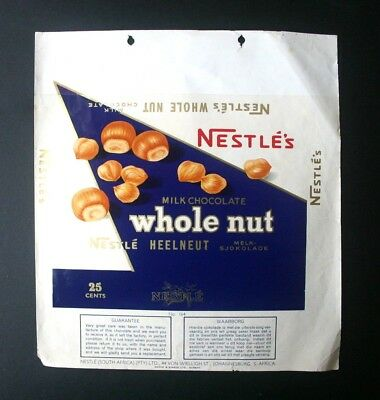 WHOLE NUT 25c - 1960's NESTLE SOUTH AFRICA Chocolate Candy Bar Wrapper