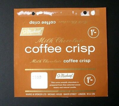 COFFEE CRISP - 1960's MARKS & SPENCER BRITISH Chocolate Candy Bar Wrapper