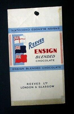 REEVES BLENDED CHOCOLATE - 1960's REEVES BRITISH Chocolate Candy Bar Wrapper