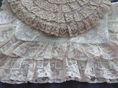 Lot 3 Antique French Normandy Embroidered Net Lace Boudoir Pillows Bridal Ruffl