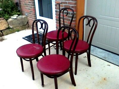 lot bentwood chairs 4 hearts Vintage 1977 Red Seats as found Cafe Bar Kitchen