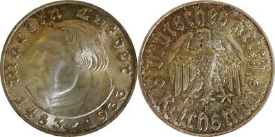 2 Reichsmark 1933 F Luther patina Stgl. #29390